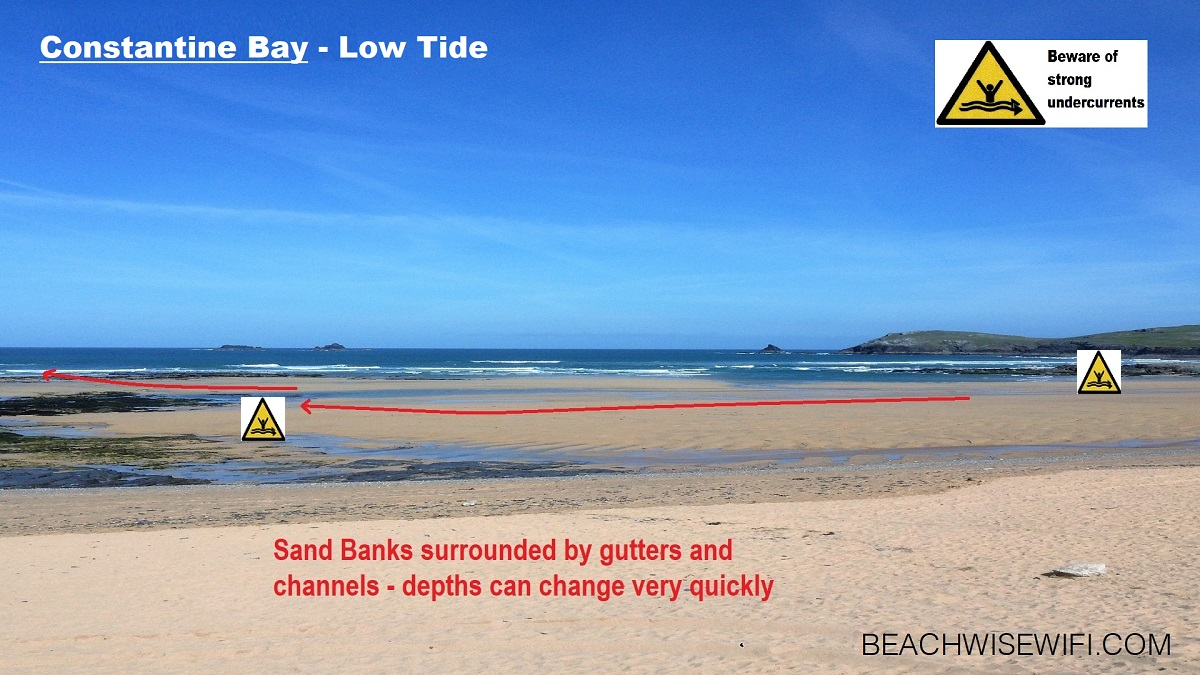 Constantine-Bay-Low-Tide-Sandbanks-surrounded-by-channels